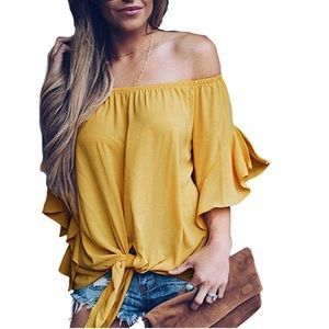 Off The Shoulder Front Tie Knot Blouse.